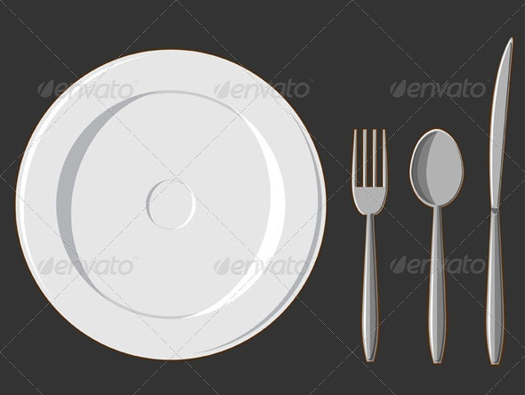 Dining Set. Plate, Fork, Spoon & Knife - Food Objects