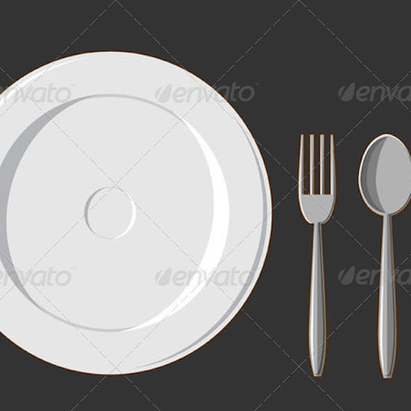 Dining Set. Plate, Fork, Spoon & Knife