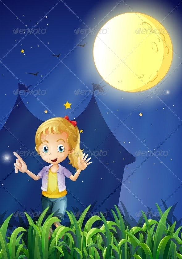 A Girl Under the Bright Fullmoon - People Characters