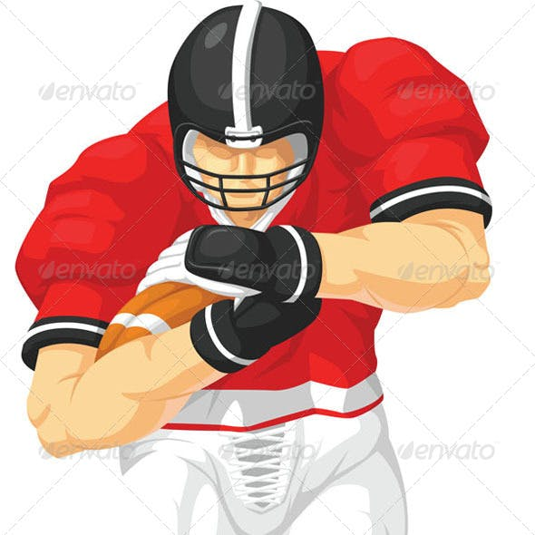 Football Player Running while Holding Ball