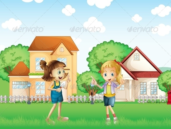 Two Young Ladies Playing in the Ground - People Characters