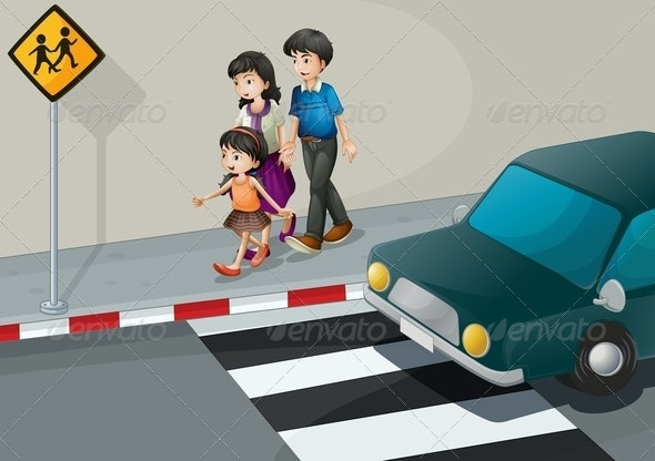 A Family Walking at the Street - People Characters