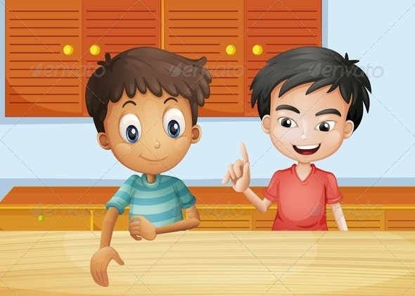 Two Men Inside the Kitchen - People Characters