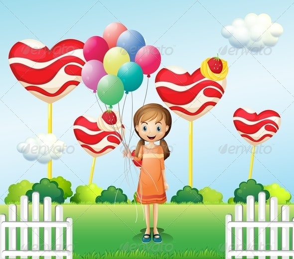 A Girl in the Candyland with Eight Balloons - People Characters