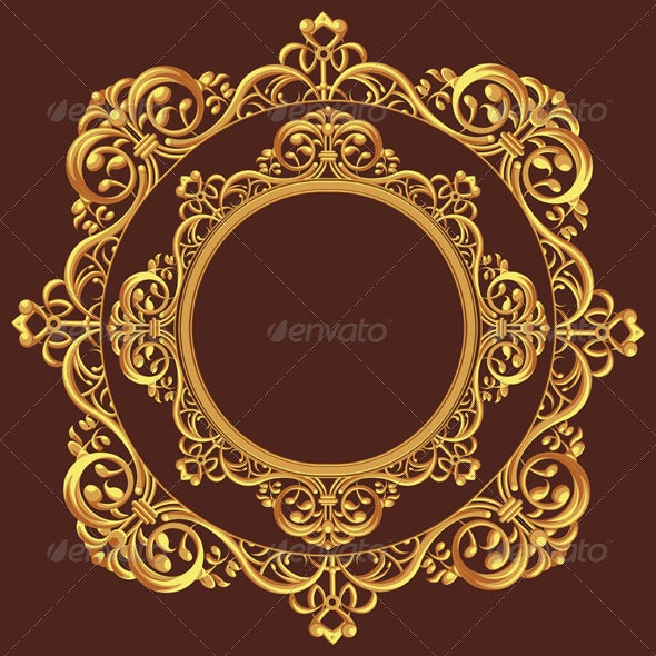 Golden Circle Ornament - Flourishes / Swirls Decorative