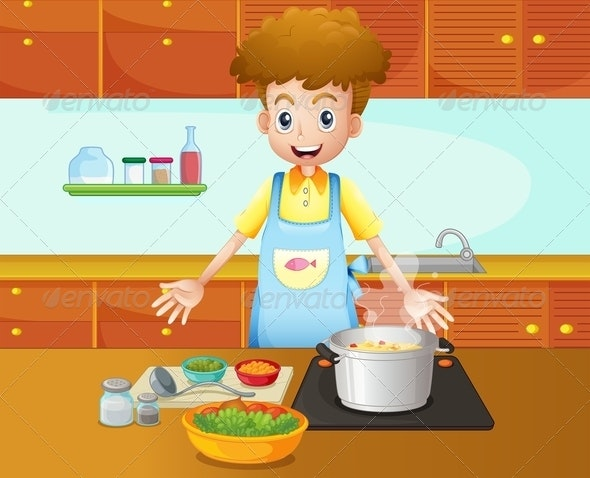 A Male Chef Cooking in the Kitchen - People Characters