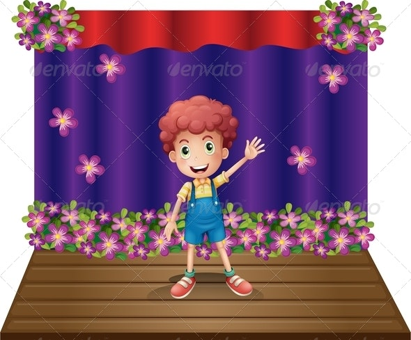 A Stage with a Young Boy Waving Happily - People Characters