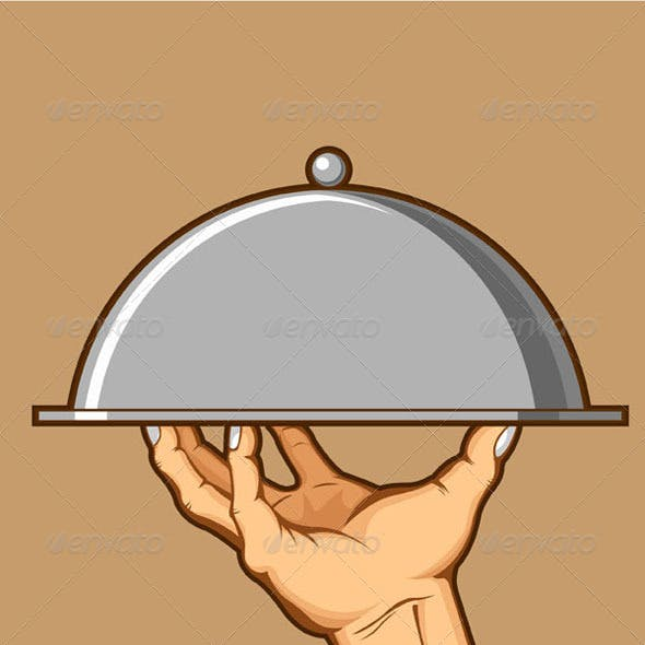 Hand Serving Tray of Food