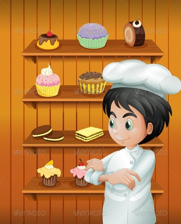 A Chef in Front of the Baked Goodies - People Characters