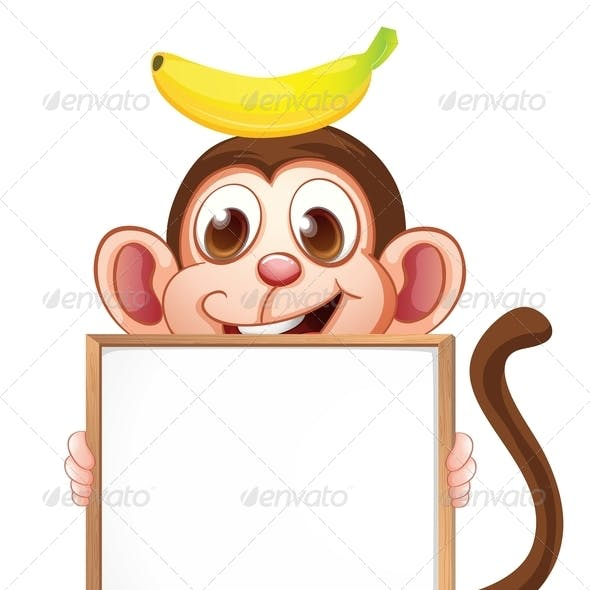 A Monkey with a Banana Above his Head