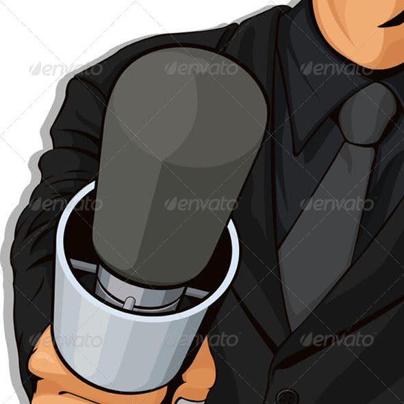 Host Holding Microphone, Detail