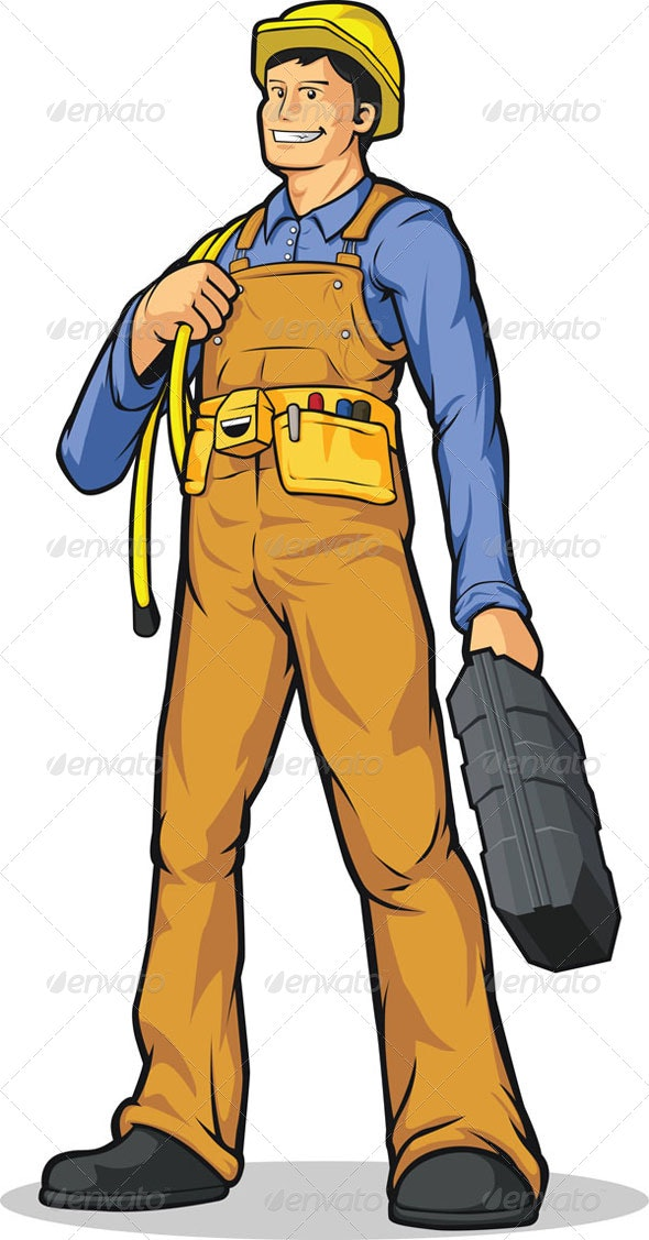 Industrial Construction Worker with Rope & Tool Box - People Characters