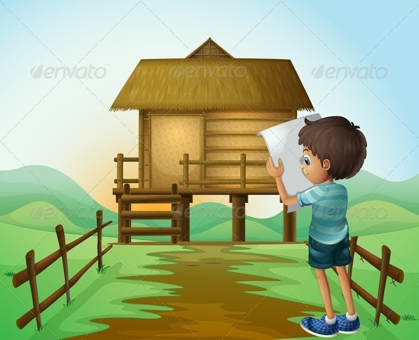 A Boy with a Paper in Front of the Nipa Hut - People Characters