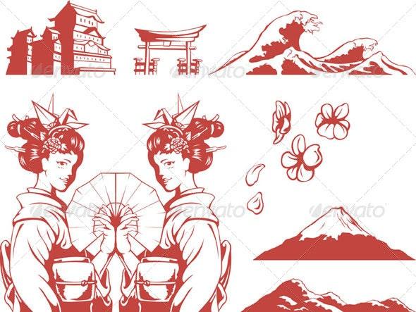 Japanese Set - Girl in Kimono, Sakura, Mountain - People Characters