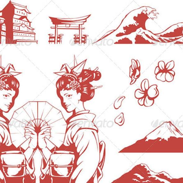 Japanese Set - Girl in Kimono, Sakura, Mountain