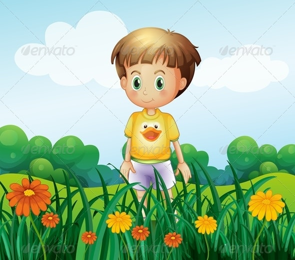 A Young Boy in Front of the Garden at the Hilltop - People Characters