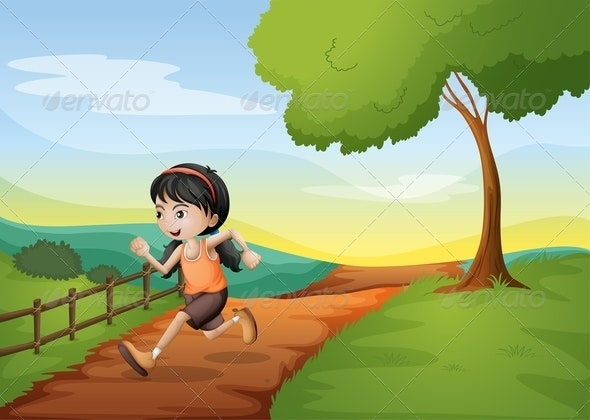 A Girl Running Hurriedly at the Hill - People Characters