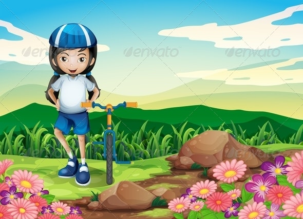 A Young Girl with a Bike Standing Near the Rocks - People Characters