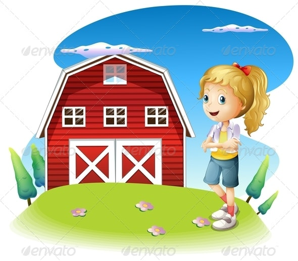 A Girl in Front of the Red Barnhouse on the Hilltop - People Characters