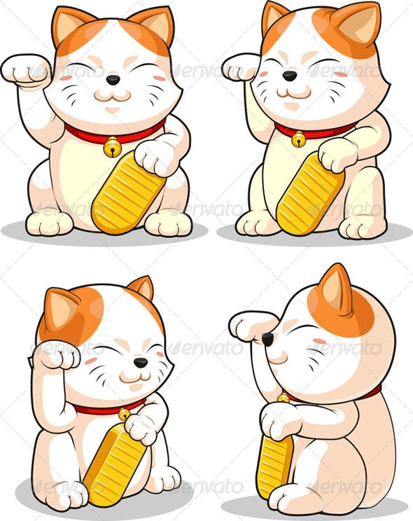 Lucky Cat (Makeni Neko) from Several Positions - Animals Characters