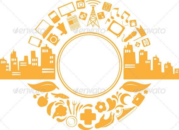 Modern City Life Silhouette - Decorative Symbols Decorative