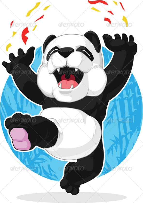 Panda Jumping in Excitement - Animals Characters