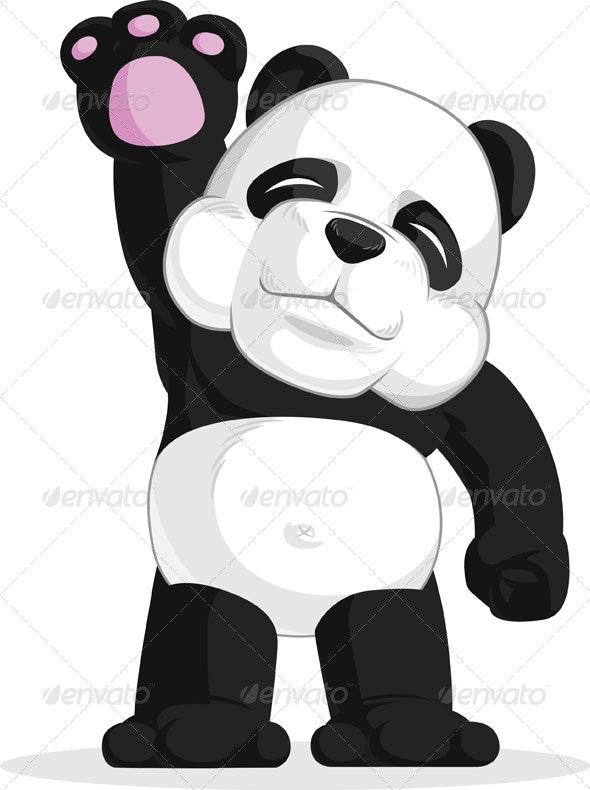Panda Waving His Hand - Animals Characters