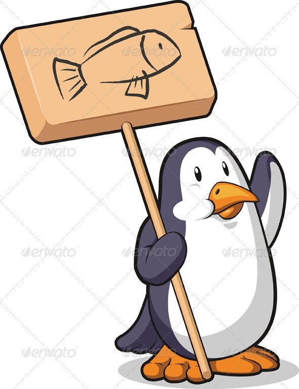 Penguin Holding a Wooden Sign - Animals Characters