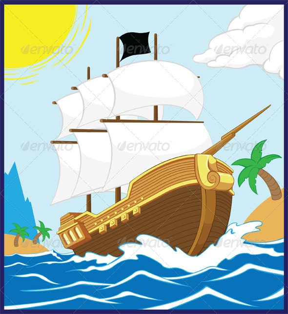 Pirate Ship on the Shore - Miscellaneous Vectors
