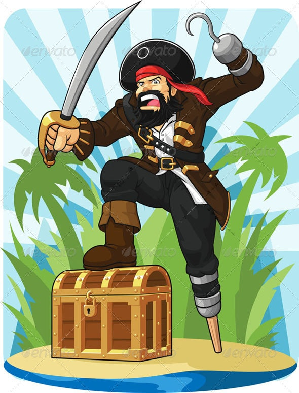 Pirate with His Treasure Chest - People Characters
