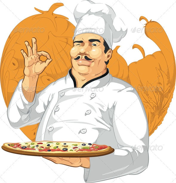 Pizzeria Chef Holding Pizza Pan - People Characters