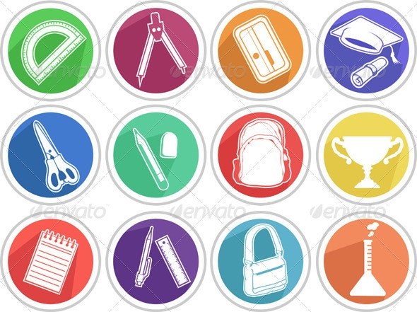 School Icon Set - Man-made Objects Objects