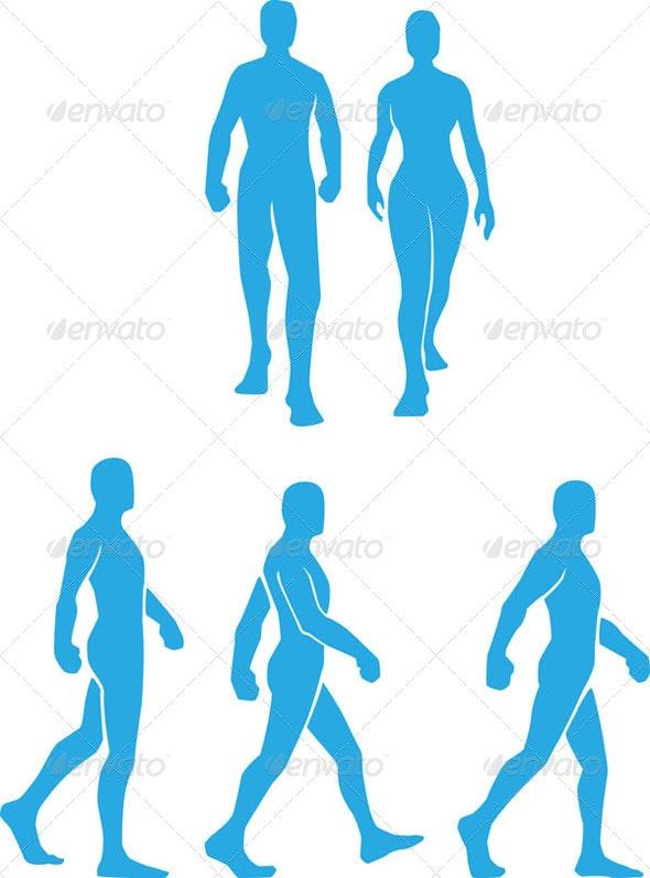 Silhouette of People Walking Set - People Characters