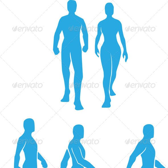 Silhouette of People Walking Set