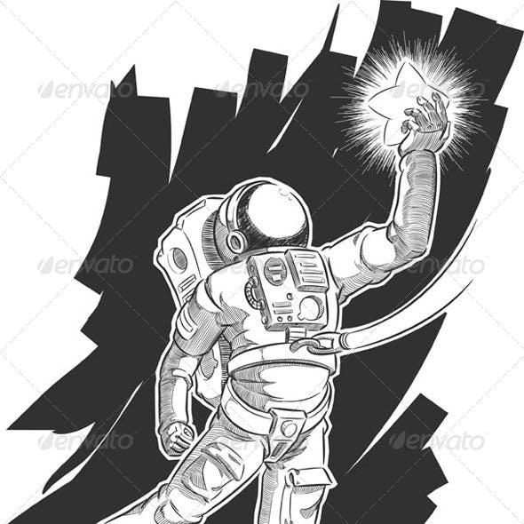 Sketch of Spaceman Grabbing a Star