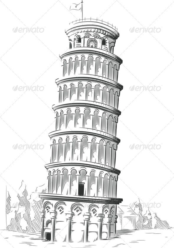 Sketch of Leaning Tower of Pisa - Travel Conceptual