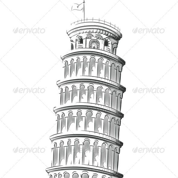 Sketch of Leaning Tower of Pisa