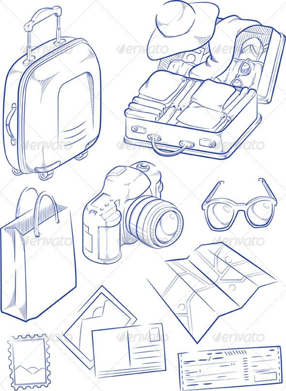 Sketch of Travel Objects - Travel Conceptual