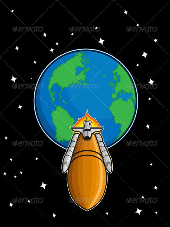 Space Shuttle from Earth - Man-made Objects Objects