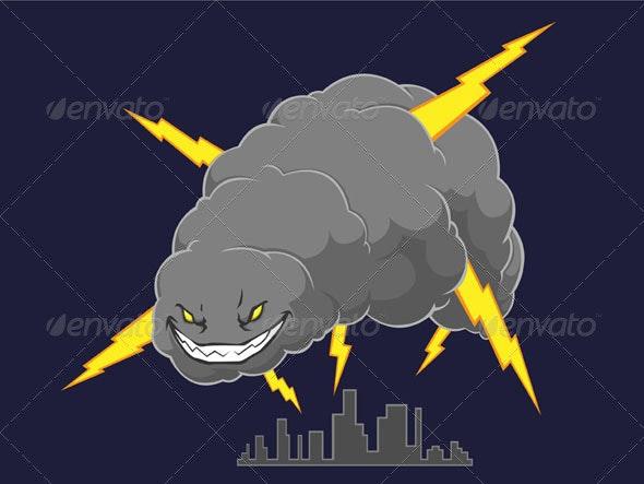Storm Cloud Attacking A City - Nature Conceptual