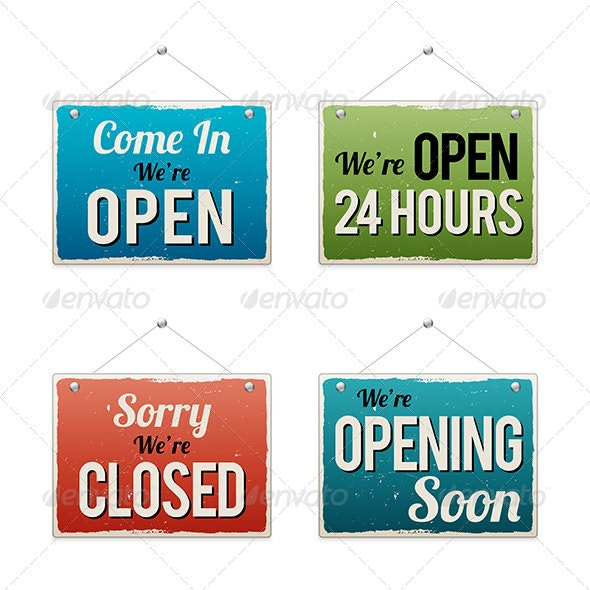 Retro Business Open Sign - Concepts Business