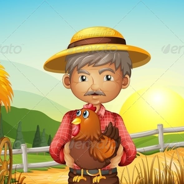 Old Man on the Farm with Rooster