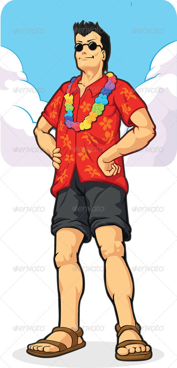 Tropical Island Tourist on Vacation - Travel Conceptual