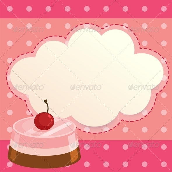 Pink Cake with Blank Callout - Borders Decorative