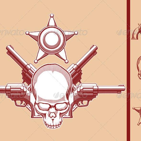 Vintage Wild West Skull, Badge and Gun Set