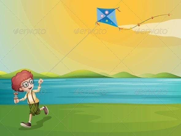 Boy Flying a Kite - People Characters