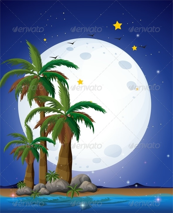Full Moon, Palm Trees and Sea - Nature Conceptual