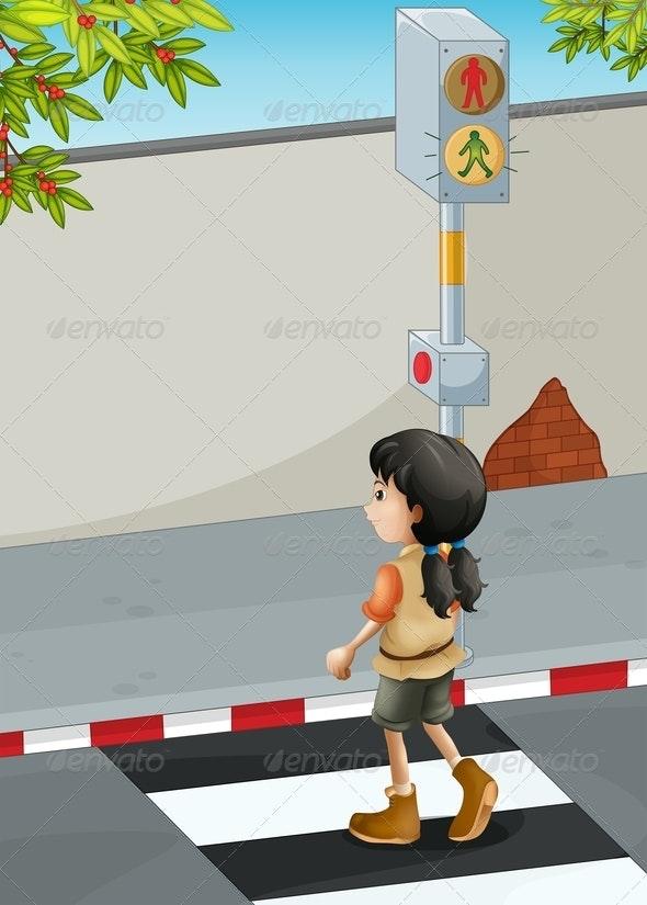 Girl Crossing Road at Crosswalk  - People Characters