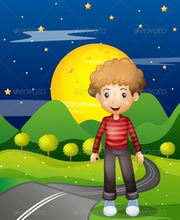 Boy on the Path at Night - People Characters