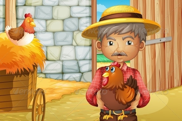 Old Man in Barn with Rooster - People Characters